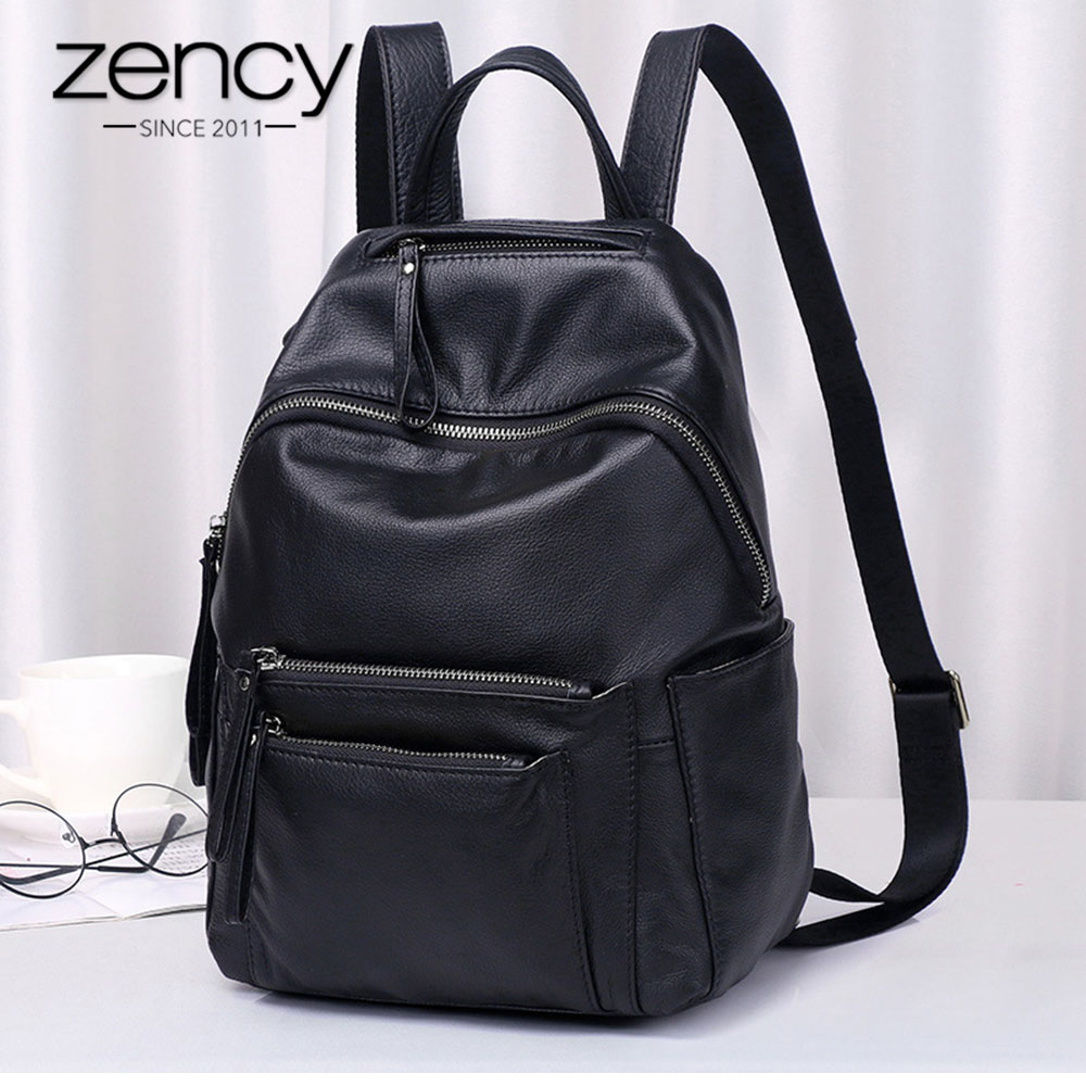 Zency 100% Genuine Leather Fashion Women Backpack High Quality Daily Holiday Knapsack Large Capacity Travel Bag Girls Schoolbag