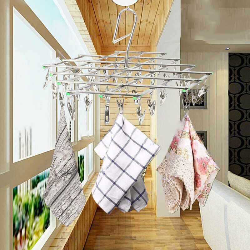 35 Clips Windproof Laundry Socks Gloves Clothes Hanger Collapsible Stainless Steel Foldable Hanging Rack Clothespin Drying Racks