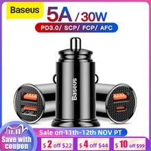 باسيوس شاحن سيارة 30 وات سريع الشحن 4.0 3.0 USB لشحن شاومي Mi9 هواوي سوبر تشارج SCP QC4.0 QC3.0 سريع PD USB C شاحن هاتف السيارة