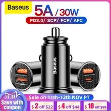 Автомобильное зарядное устройство Baseus 30 Вт Quick Charge 4,0 3,0 USB для Xiao Mi9 Huawei Supercharge SCP QC4.0 QC3.0 Fast PD USB C автомобильное зарядное устройство для телефона