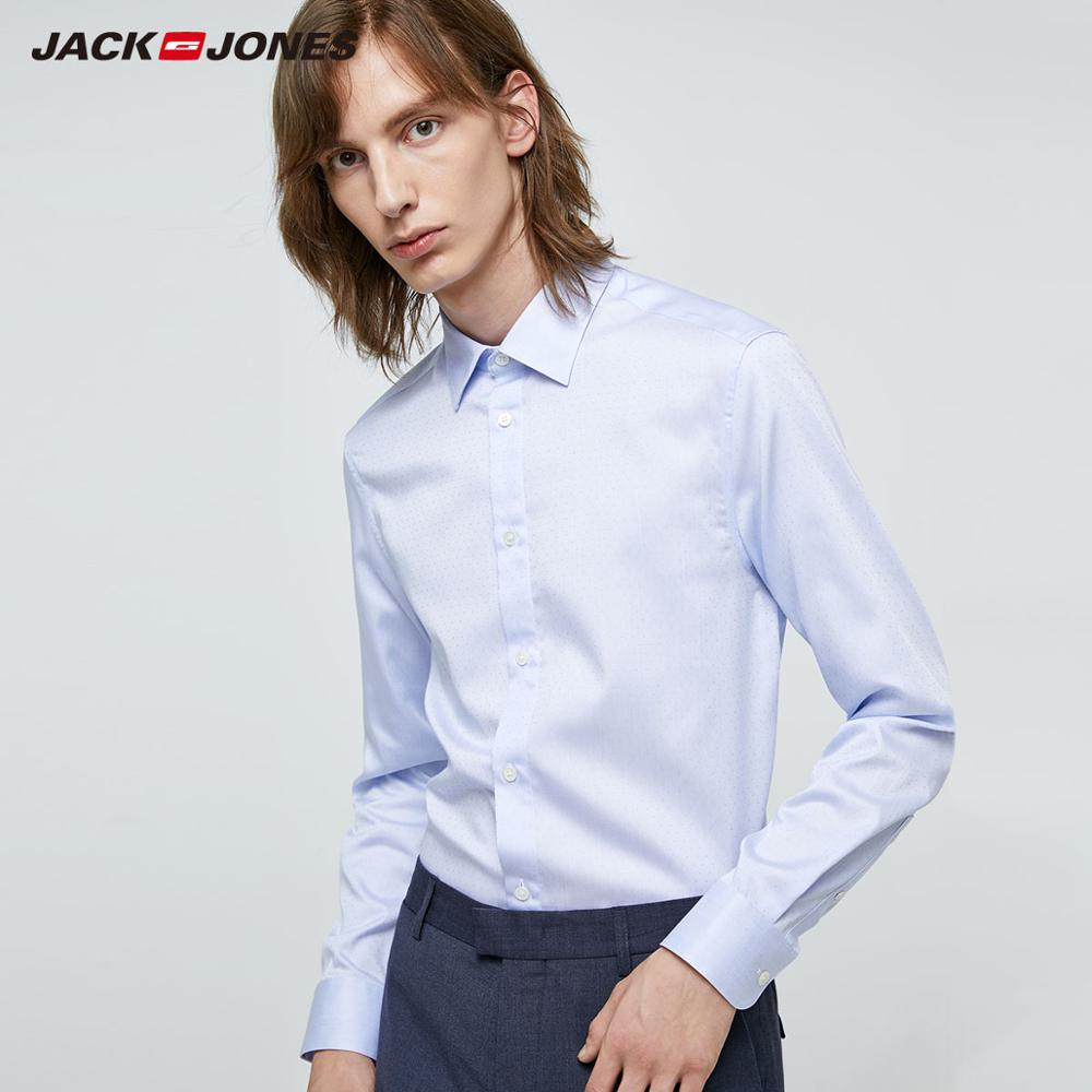 JackJones Men's Slim Fit Comfortable 100% Cotton Business Long-sleeved Shirt Menswear| 219305514