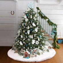 Снежная плюшевая Рождественская елка, юбка, напольный коврик, покрытие, Рождественская елка, украшение, Санта Клаус, олень, войлок, Рождественская елка