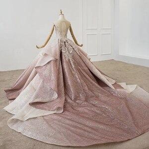 Image 2 - HTL1228 2020 árabe vestido de noche cuello lentejuelas cristal patrón de vuelta lujoso vestido de noche nuevo платья вечерние