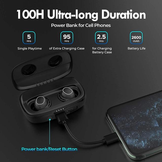 M30 Plus Bluetooth 5.0 Earphones True Wireless Earbuds Touch Control IPX8 Waterproof Headphones with 2600mAh Charging Case 2