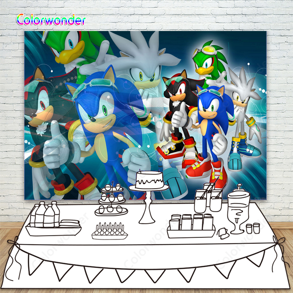 Background Photography Sonic the Hedgehog Boys Happy <font><b>8th</b></font> <font><b>Birthday</b></font> Party Supplies Backdrops Dessert Table Banner Poster Photocall image