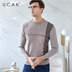 UCAK бренд мериносовой шерстяной мужской свитер 2019 Новое поступление осень зима мужские свитера Pull Homme мягкий теплый кашемировый пуловер для ...