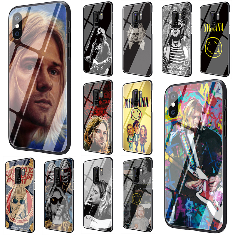 Nirvana Kurt Cobain Tempered Glass Phone Cover Case For Samsung Galaxy S7 edge S8 Note 8 9 10 Plus A10 20 30 <font><b>40</b></font> <font><b>50</b></font> <font><b>60</b></font> 70 image