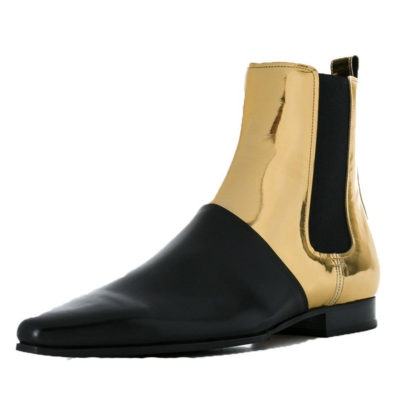 New Designer Mens Golden Colors Mixed Shoes Pointed Toe Club Party Bright Chelsea Boots Plus Size Genuine Leather Shoes