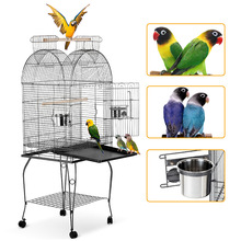Parrot Cage Bowl Wheels Iron-Bird Stainless-Steel Jaulas Macaw Play-Top Cockatoo