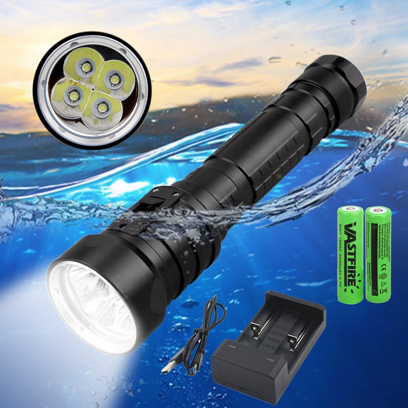 15000LM 4*XM-L T6 LED Scuba Diving Flashlight Waterproof Underwater 100 Meter Diver Lanterna Torch Lamp+2*18650+USB Charger