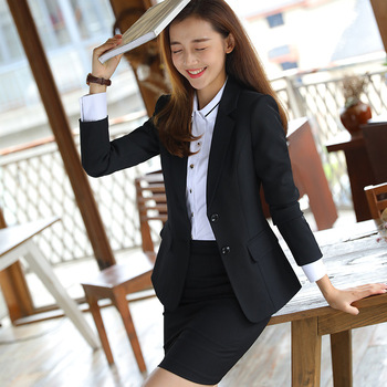 IZICFLY New Spring Autumn Formal Skirt Suit Uniform for Ladies Work Wear Elegant Business blazer and skirt set Office Clothes skirt suit for women jacket female korean version 2019 spring and autumn office lady uniform blazer chiffon skirt 9856