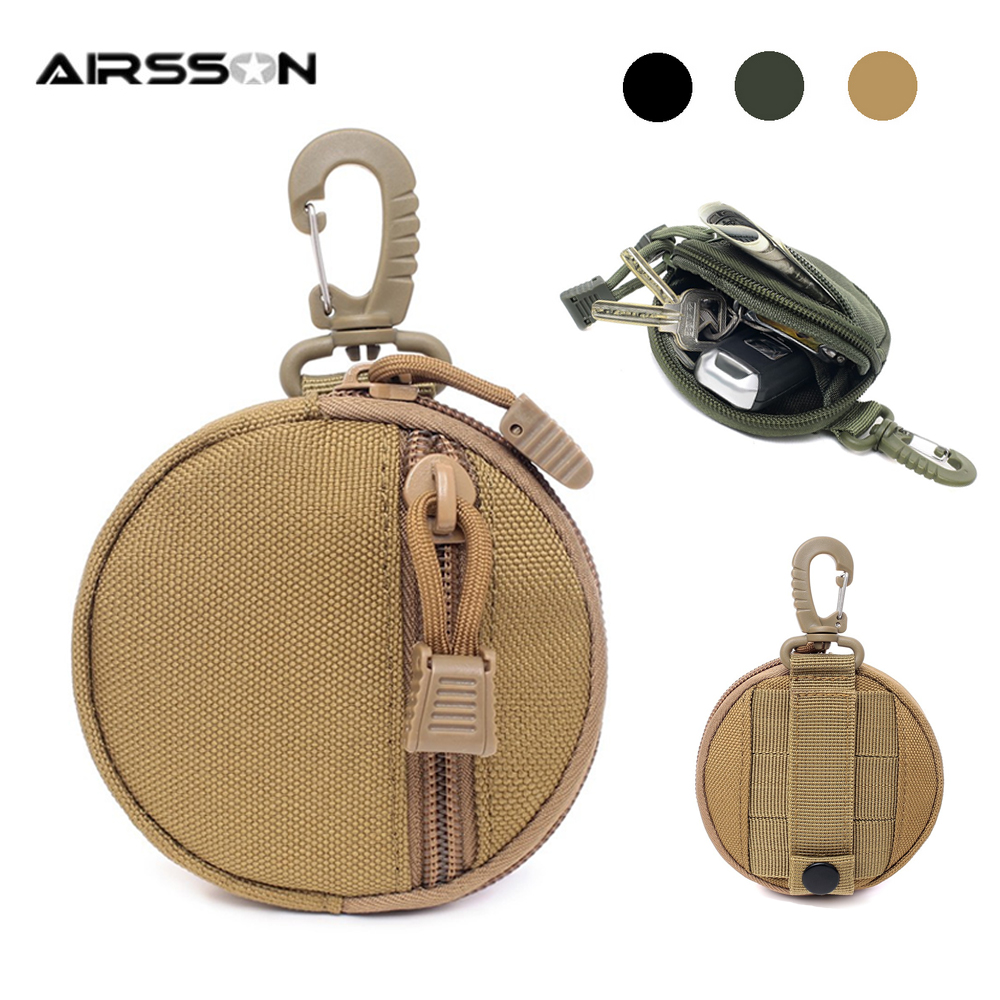 Tactical EDC Pouch Mini Key Wallet Holder Men Coin Purses Pouch Military Army Camo Bag Keychain Zipper Small Pocket Outdoor Tool