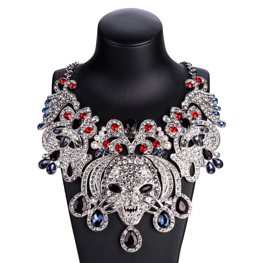 Baroque Luxury Big Animal Leopard Print Punk Pendants Women Necklaces Vintage Crystal Statement Collares Necklace Boho Jewelry in Choker Necklaces from Jewelry Accessories