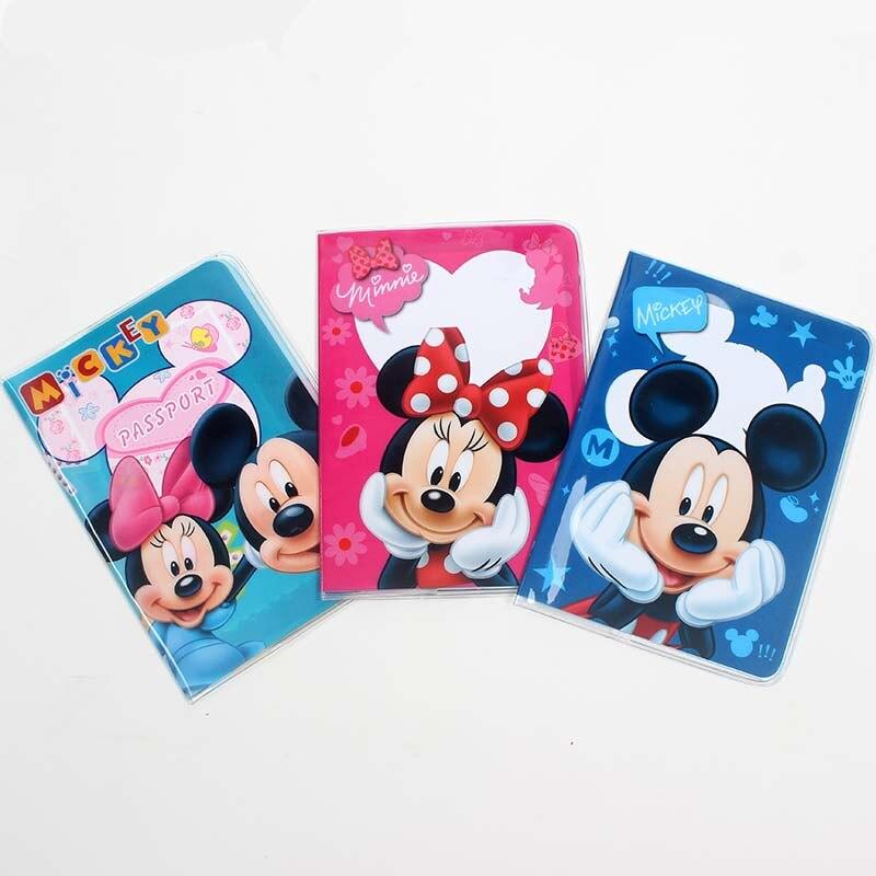 Travel Accessories Cartoon Mickey Minne Passport Holder PVC Leather Travel Passport Cover Case Card ID Holders 14cm*9.6cm