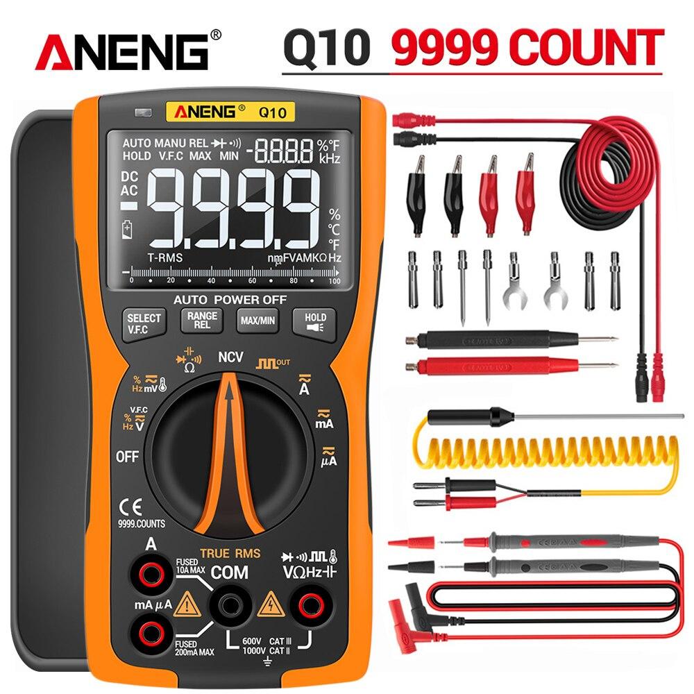 ANENG Q10 9999 Professional Tester Multimetro Digital Multimeter True RMS Analog DIY Transistor Capacitor NCV Testers Lcr Meter