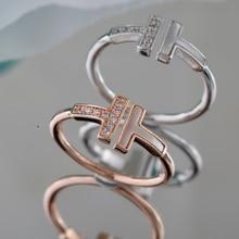 T1 открытые стерлингового серебра в форме двойной буквы т кольца