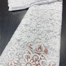 Lace Fabric Nigerian French High-Quality African PGC White for Wedding-Sewing-Ya3893b-1