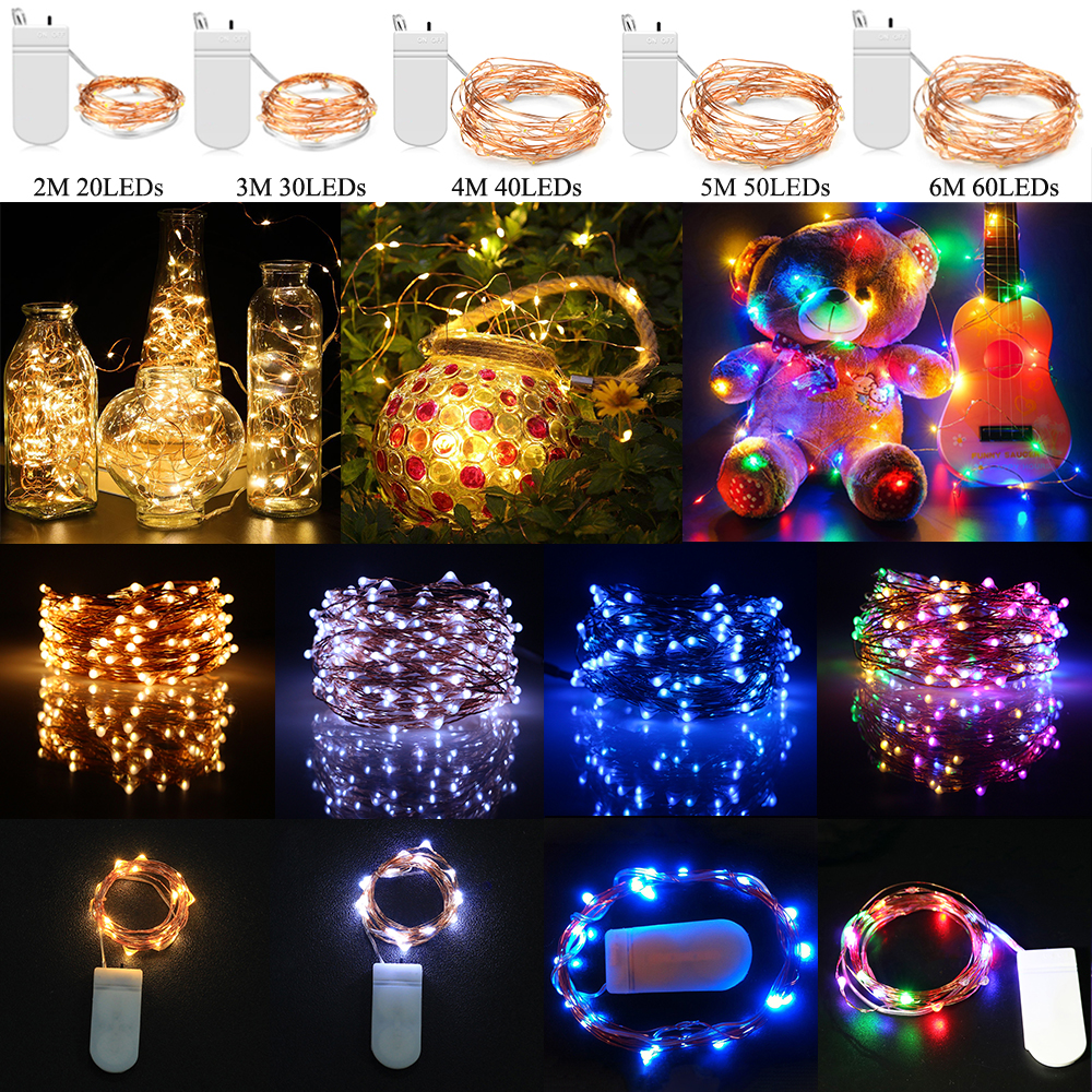 New Years LED String Lights 20/30/40/50/60LEDs Battery Powered Copper Wire Waterproof LED Light For Wedding Party Home Decor D40