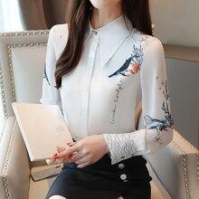 Blusa de outono 2019 das senhoras blusas chiffon camisas para as mulheres topos camisa branca botão de impressão blusas mujer de moda 0265