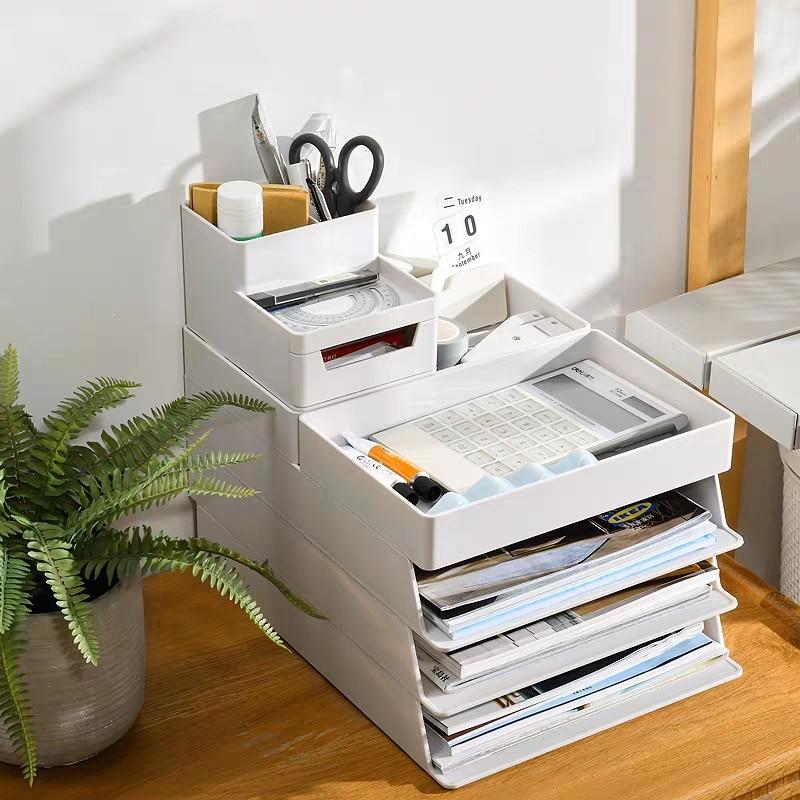 Document Storage Box Magazine Stand A4 Document Trays Bookend Brochure Holder Organizer Box Desk Organizer Office Accessories
