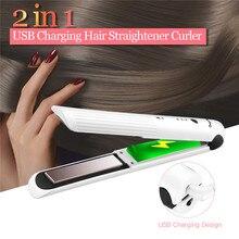 Lisseur en céramique sans fil 2 en 1, fer plat, Rechargeable par USB, pour friser les cheveux, utilisation en voyage