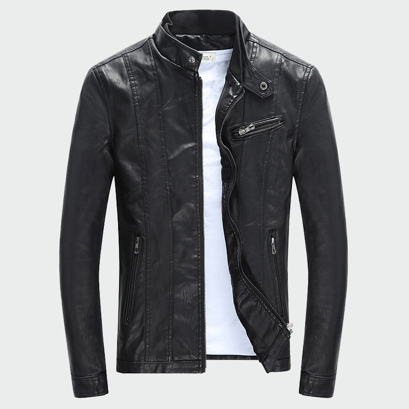 Men's Stand Collar European And American Faux Leather Men Autumn And Winter Slim Short Casual PU Motorcycle Leather Jackets