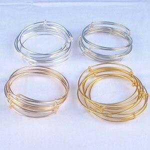 Image 4 - 100 pçs venda quente metais cor de ouro prata cor diy pulseira para contas ou encantos ajustável expansível pulseiras de fio