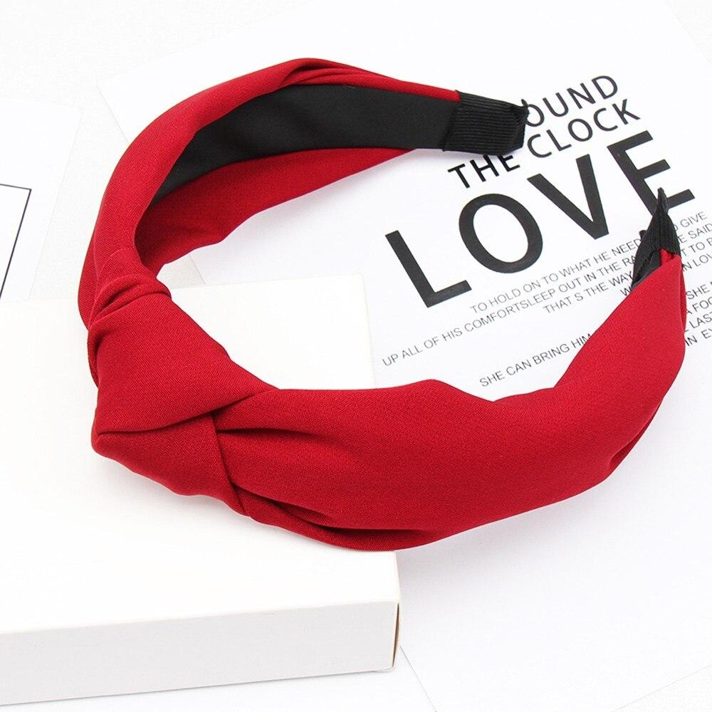 Couleur unie noeud bandeaux pour femmes Simple tissu filles bandeau femmes cheveux accessoires large côté bandeau 5