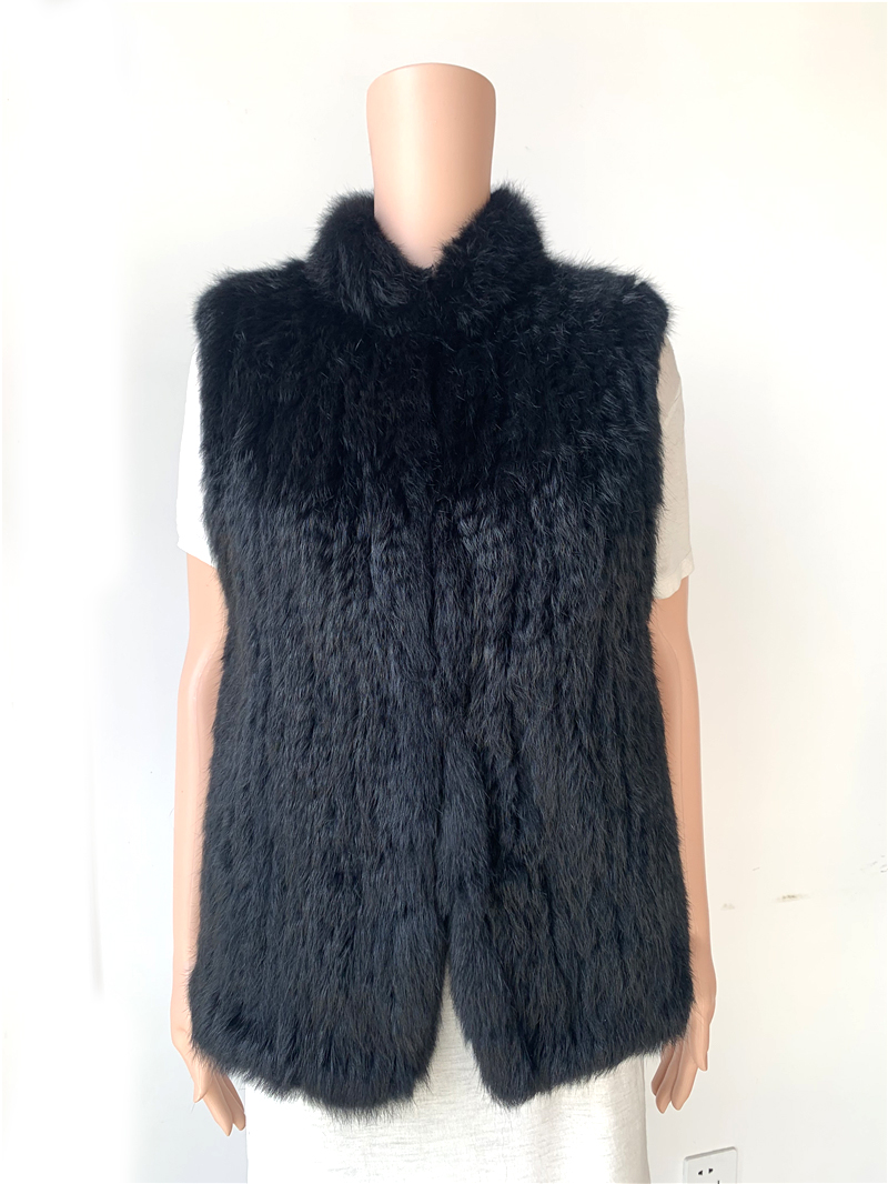 Sales clearance real rabbit fur vest stand colllar
