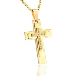 Мужское ожерелье из нержавеющей стали золотого цвета с пасхальным крестом, уникальное мужское колье с подвеской в виде распятия, ювелирные ...
