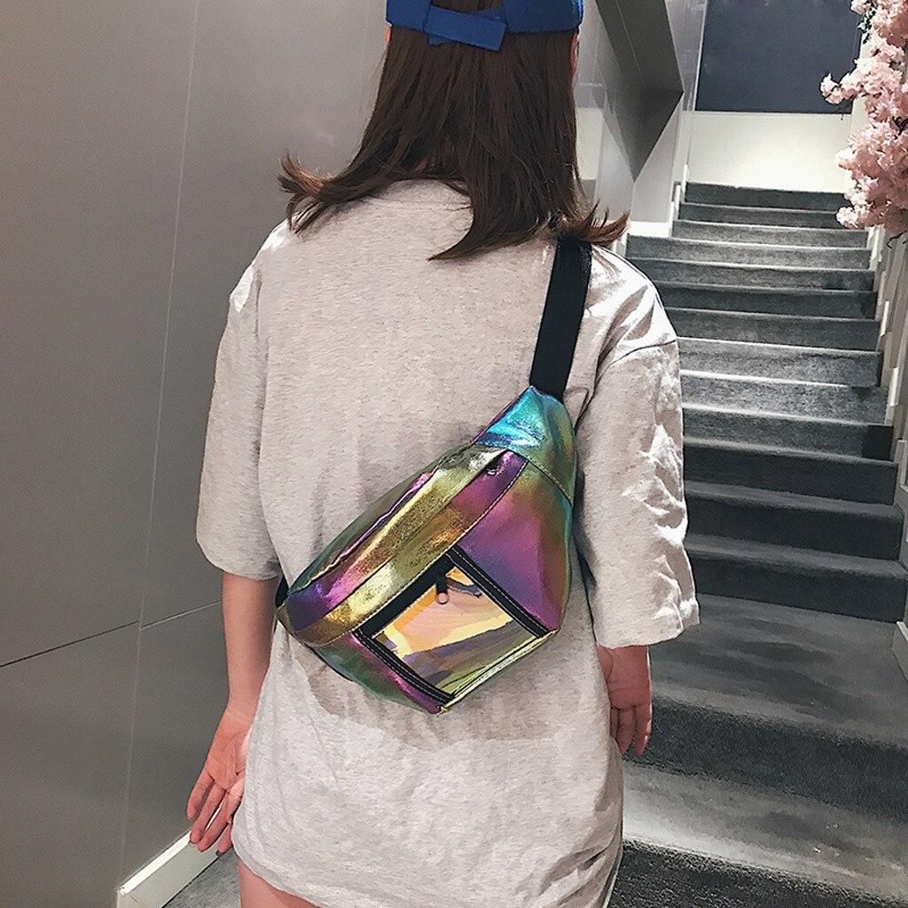 2019 Fashion Belt Bum Bag Waterproof Transparent Clear Punk Holographic Fanny Pack Laser Waist Pack For Women D2