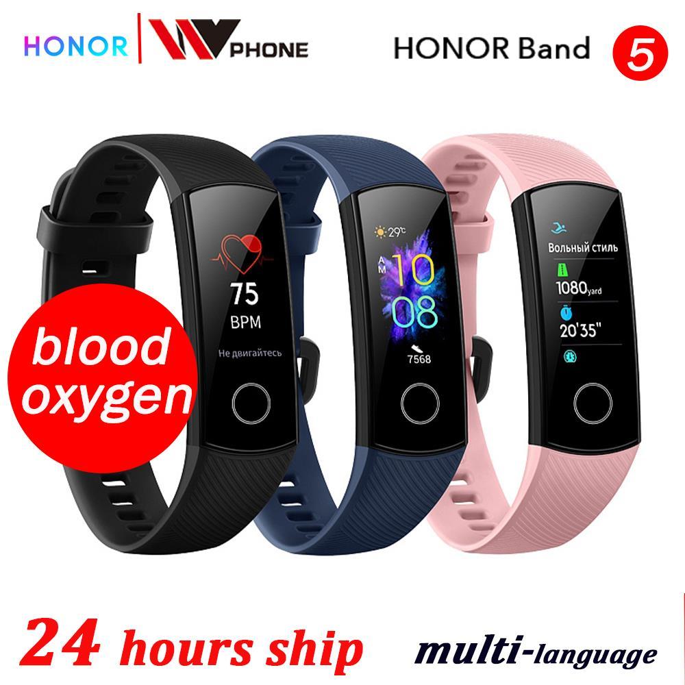 Sangre oxígeno honor band 5 banda inteligente amuled Huawei honor reloj inteligente ritmo cardíaco fitness sueño natación rastreador deportivo