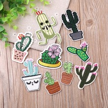 New 1PCS Cactus Series Embroidered Patches Iron Cute Parches for Children Clothes Diy  Badges Flowering Floral Stickers