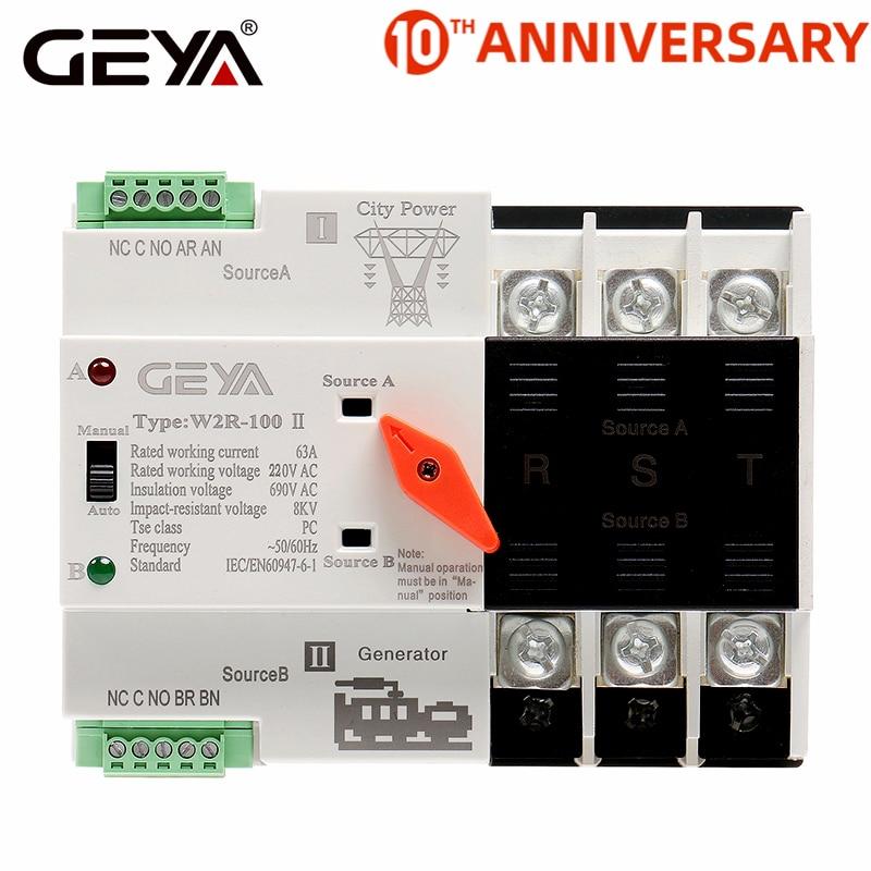 GAEYAELE W2R-3P Din Rail Mounted Automatic Transfer Switch Three ...