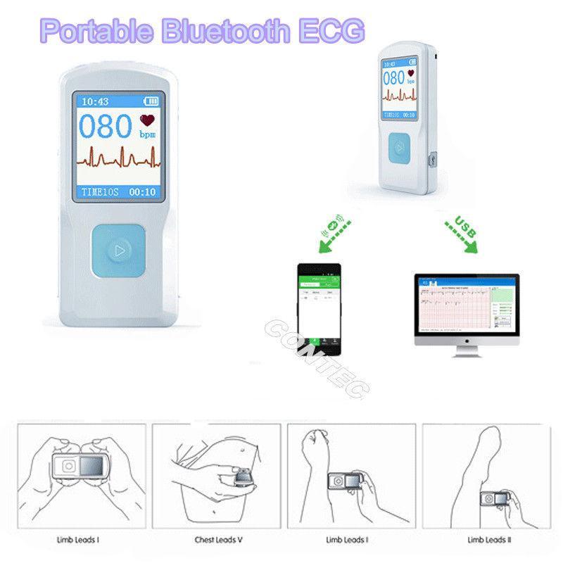 Nowy przenośny przenośny EKG EKG EKG EKG Monitor serca LCD USB Bluetooth PM10 CONTEC