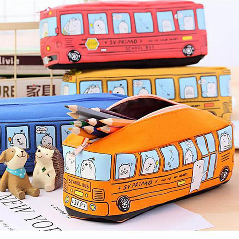 Creative Student Stationery Small Animal Bus Box Male And Female Canvas Large Capacity Case