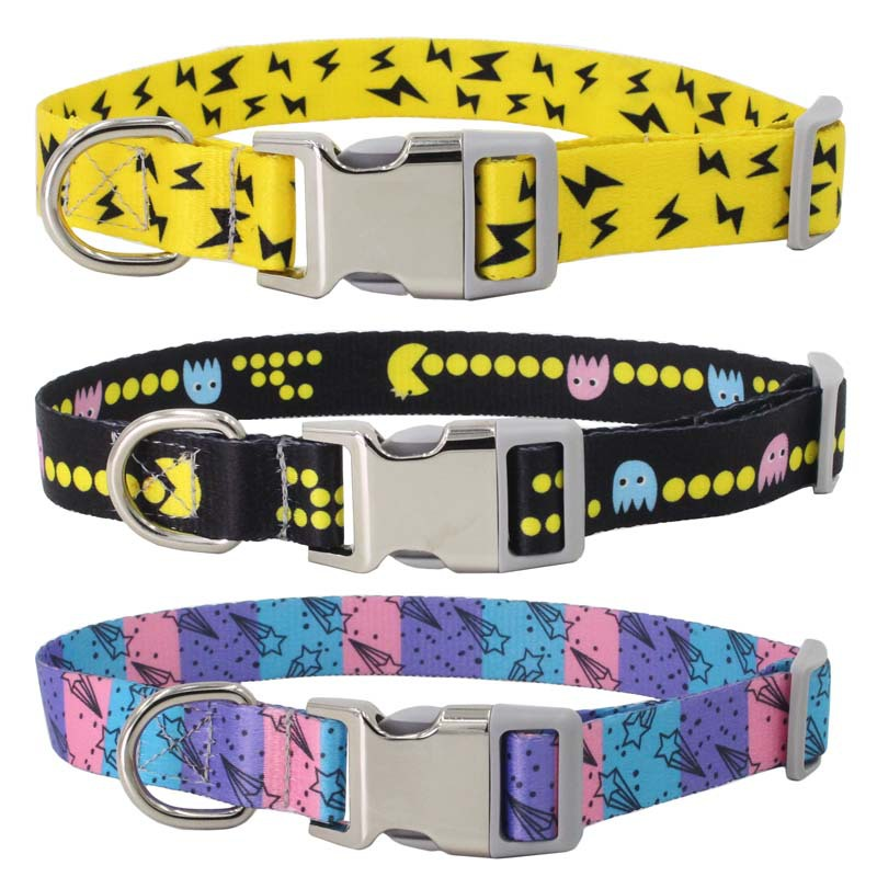 New Style Lettering Semi-metallic Release Buckle Dog Neck Ring Nylon Pet Collar Printed Webbing Amazon Pet Supplies
