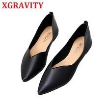 XGRAVITY Neue Frauen Schuhe Frühling Herbst Damen Flache Schuhe Mode Mädchen PU Leder Schuhe V Cut Frau Schuhe Casual schuhe C328