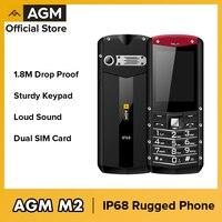 Teléfono resistente con teclado (varios idiomas) AGM M2, móvil de pantalla pequeña para exteriores, IP68, a prueba de golpes, botón pulsador, GSM