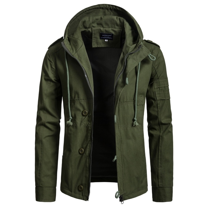 Men's Jacket Army Green Military Wide-waisted