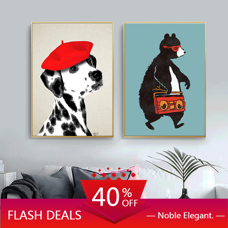 Abstract Dog Red Hat Print On Christmas Canvas Paintings Art Cute Bear Posters Home Decoration Wall Pictures For Living Room Painting Calligraphy Aliexpress