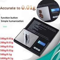 Mini báscula Digital de alta precisión, 100/200/300/500g, 0,01/0,1g, para joyería, gramos de peso para cocina, 1 Uds.