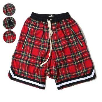 Men's Scottish Plaid Shorts Oversized Baggy Shorts Streetwear Mesh Tartan Drop Crotch Shorts Men Side Zip Stretch Knee length zip front check plaid shorts