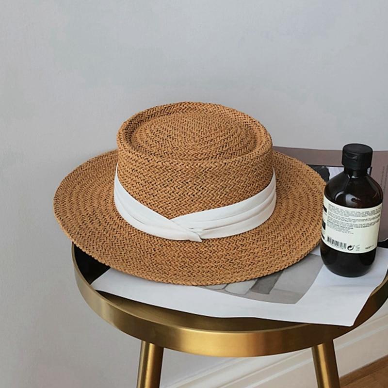 Straw  Summer Beach Shade Small Fresh Seaside Holiday Protection Versatile Fashion Korean Version Fedora Tide Sun Hat Women