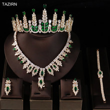 Earrings-Rings-Sets Necklace Bridal-Jewelry-Sets Crown Wedding Bracelet Tiara Zircon