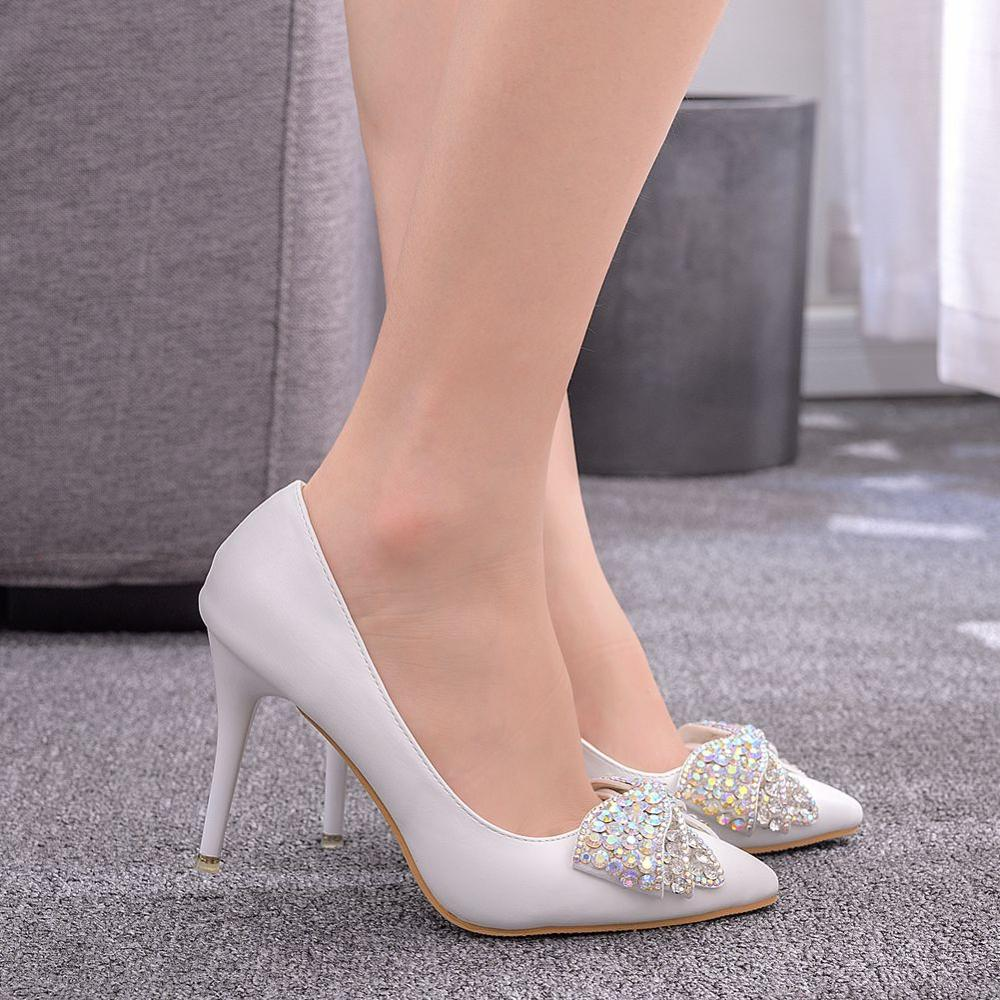 Spring Autumn High Heels Shoes Women White Wedding Shoes Rhinestone Bowknot Thin High Heels Fashion Party Pumps Large Size 43
