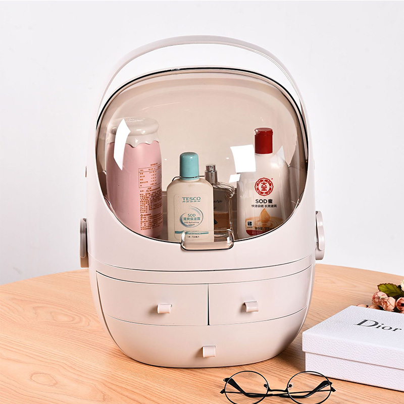 Acrylic Cosmetic Box Large Capacity Handheld Cosmetic Organizer Drawer Type Waterproof Dust-proof Jewelry Box Makeup Bag