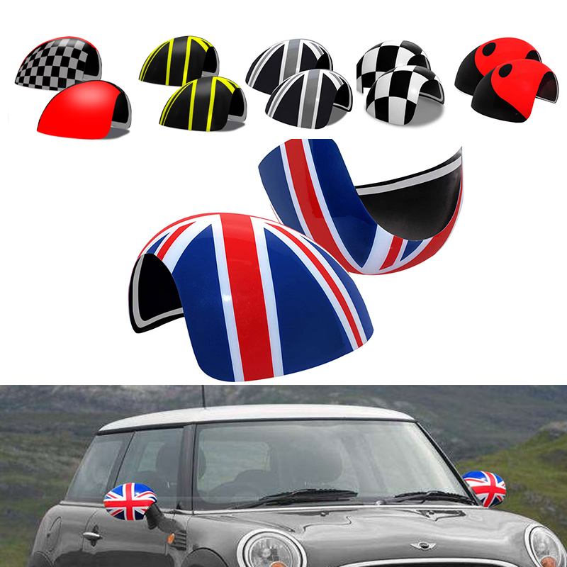 KJAUTOMAX For Mini Cooper R50 R52 R53 Lefthand Drive Sticker Plastic 2pcs Rearview Side Mirror Cover Caps Protective Shell