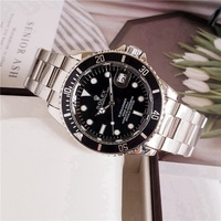 rolex- Fashion Brand Automatic Mechanical Watches Men\'s Waterproof Skeleton Wrist Watch With women men Leather strap 125