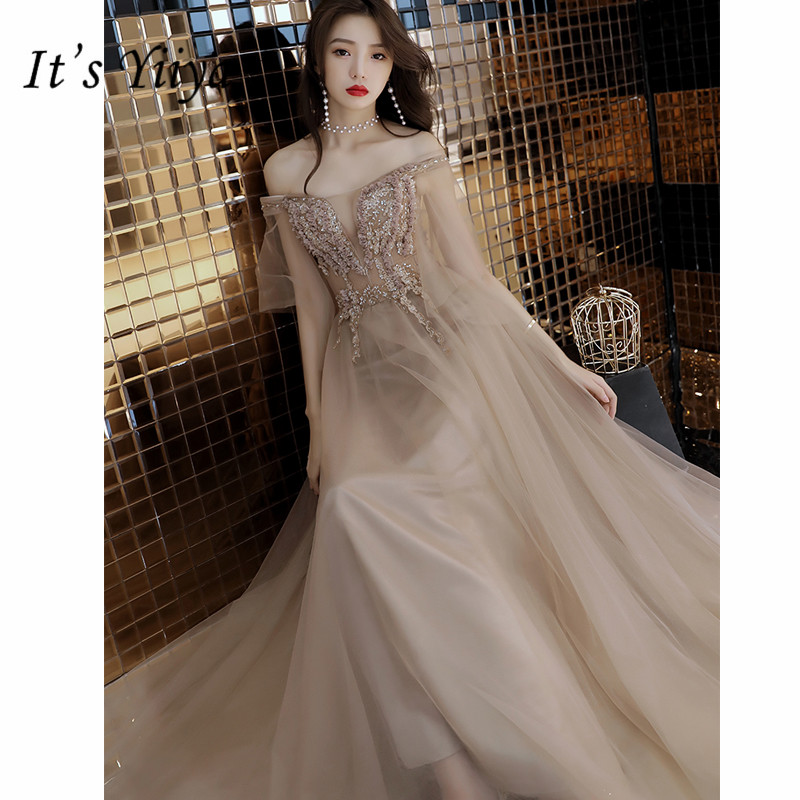 It's YiiYa Evening Dress Sexy Illusion Boat Neck Robe De Soiree A-line Short Sleeve Sequin Floor-Length Women Party Dresses E862
